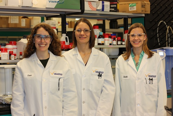 Three of Velesco Pharmaceutical Services' staff of pharmaceutical scientists